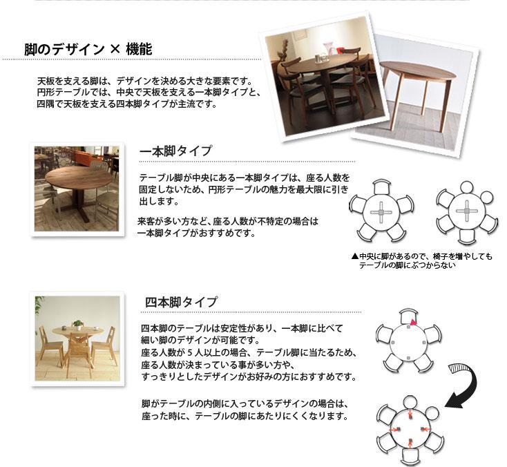 円形のテーブル選びは脚のデザインがポイント