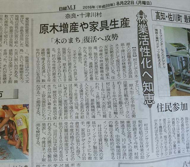 日経MJに、十津川村の林業活性化の記事が掲載されました。