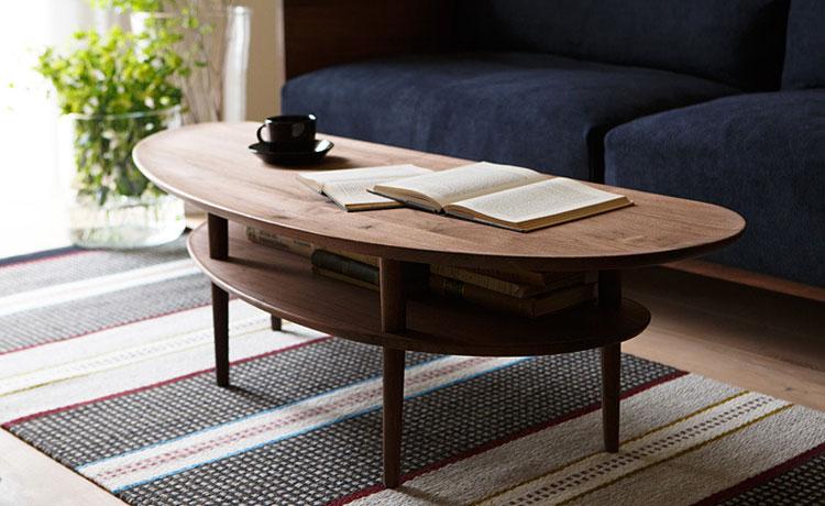 ローテーブル選びのポイント、棚付きでテーブルの上をすっきり