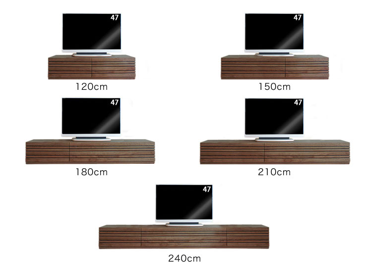 テレビ台選びのポイント、テレビ台の幅とテレビの大きさの比較