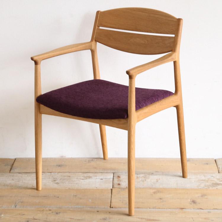オーク材の椅子(チェア)とパープルの張地