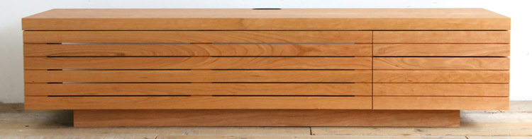 オーダー家具 テレビボード、ブラックチェリー材のテレビ台
