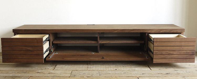 オーダー家具 テレビボードの収納、フラップ扉に左右に2段の引き出し