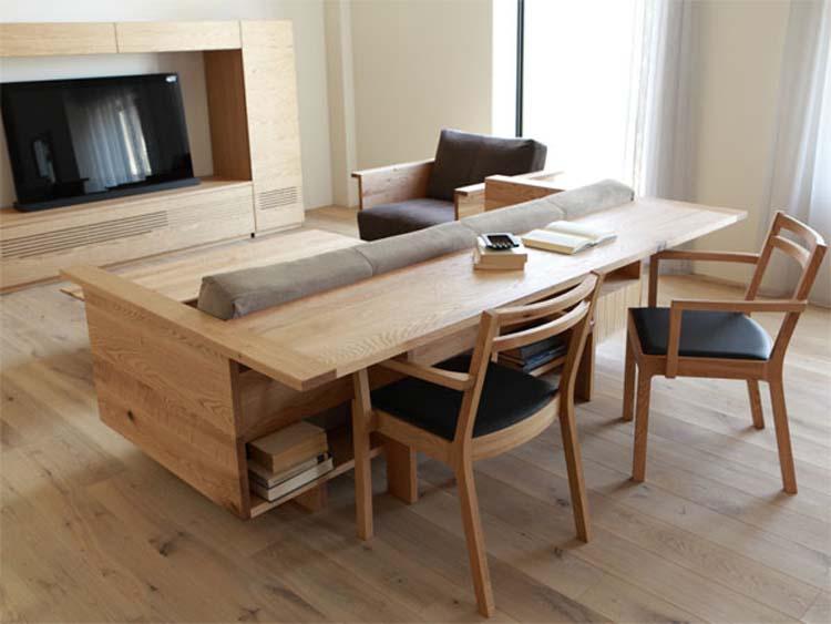 カウンターテーブルとソファが合体したソファ