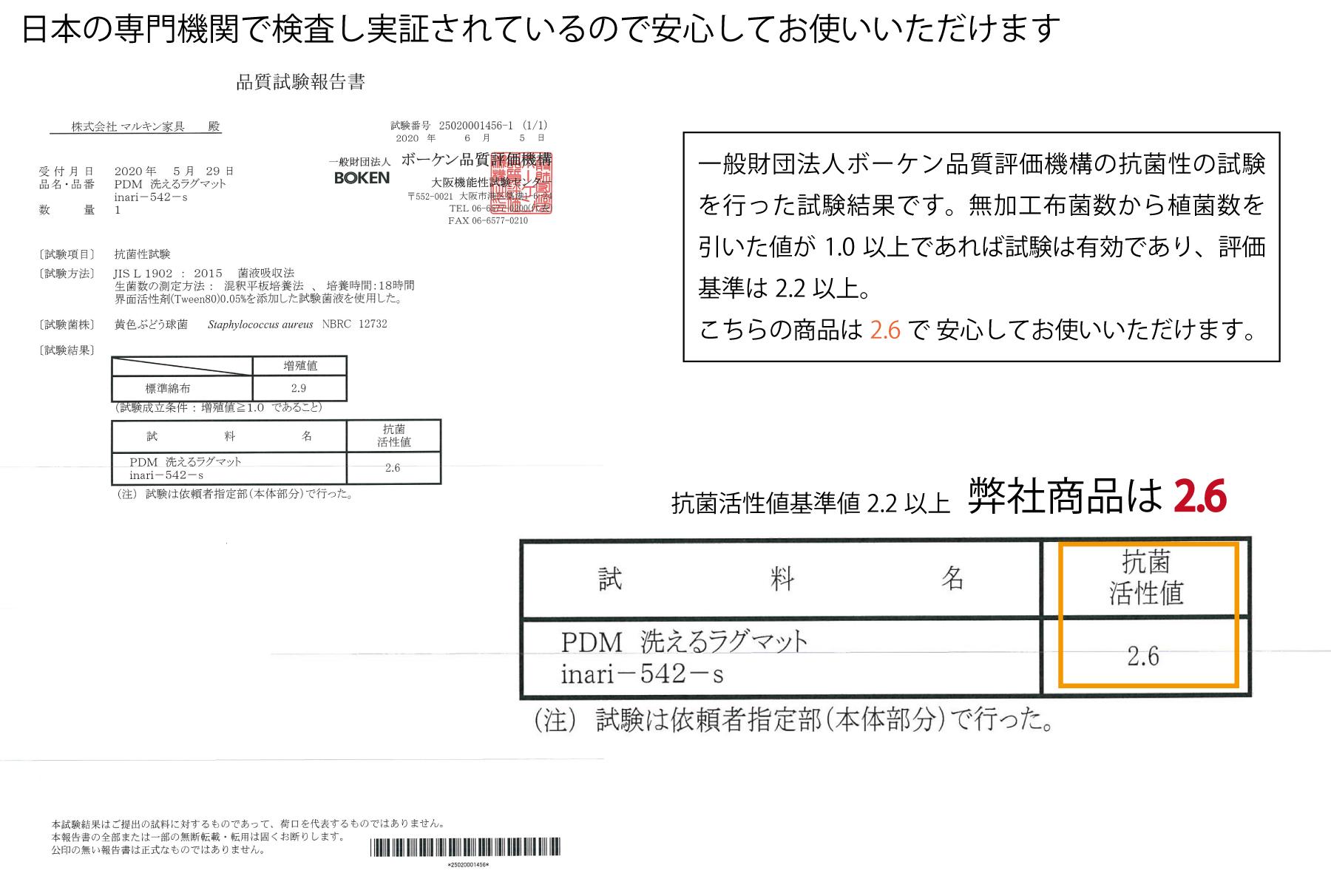 日本の専門機関で検査し、実証されているので安心してお使いいただけます。