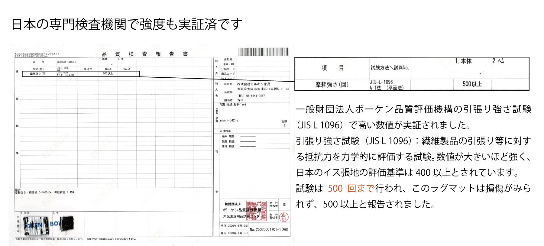 日本の専門検査機関で強度も実証済み