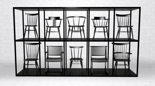 高山ウッドワークス 大阪マルキン家具 展示 ブラックレーベル チェア